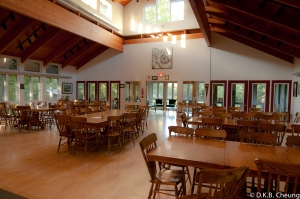 Home cooked meals are served and enjoyed in the beautiful dining room of the main lodge.